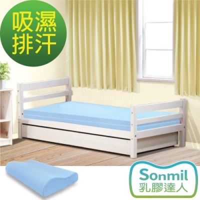 Sonmil乳膠床墊 單人3.5尺10cm乳膠床墊+乳膠枕超值組-3M吸濕排汗型