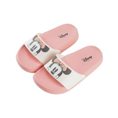 迪士尼親子鞋 米妮 大頭童段休閒拖鞋-白粉