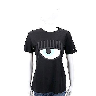 Chiara Ferragni Flirting 眨眼圖騰黑色棉質短T恤