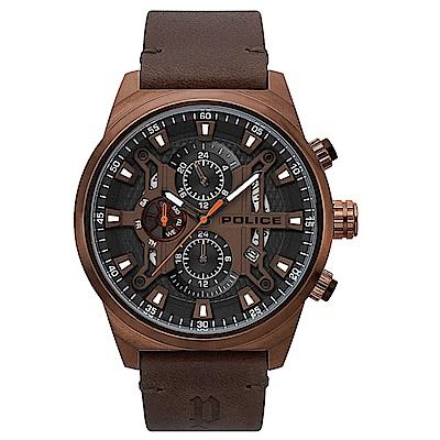 POLICE 時空戰區三眼腕錶-深褐色x棕色/48mm