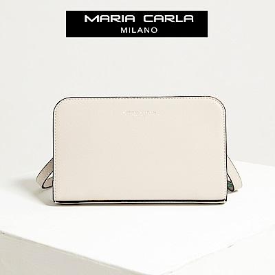 【Maria Carla】荼白色_拉鏈式手機皮夾側背包_日光休閒_二層牛皮_SERIES