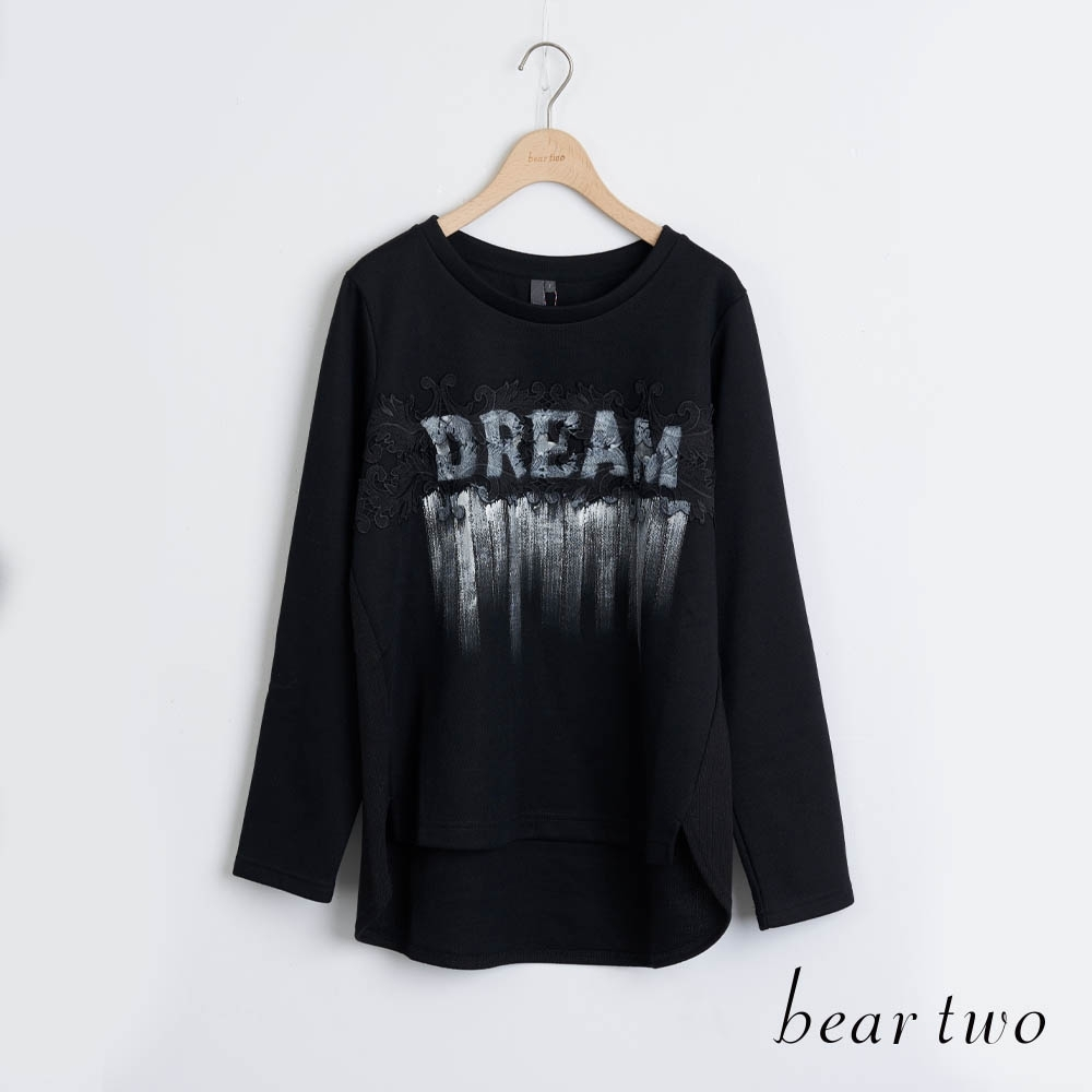 bear two- 蕾絲印刷字母T - 黑 product image 1