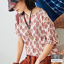 潘克拉 連續部落圖騰印花衫-紅色