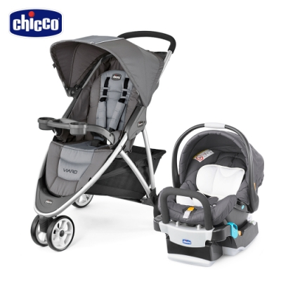chicco-Viaro運動版三輪推車-太空灰+KeyFit手提汽座-深邃灰