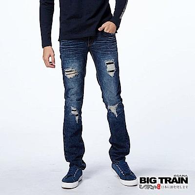 BIG TRAIN-硬派破壞丹寧小直筒褲-男-深藍