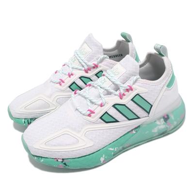 adidas 休閒鞋 ZX 2K Boost 女鞋 愛迪達 三葉草 避震 緩衝 緩震 碎花 白 綠 GX5373
