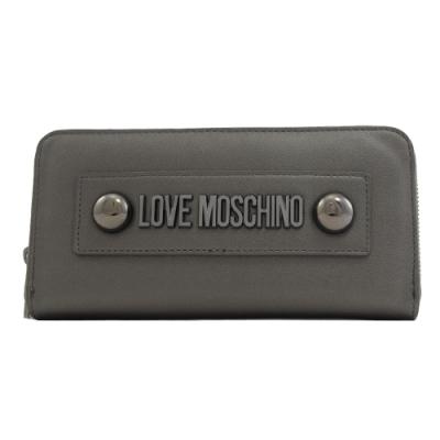 MOSCHINO LOVE系列大金屬LOGOㄇ字拉鍊長夾(銀灰)