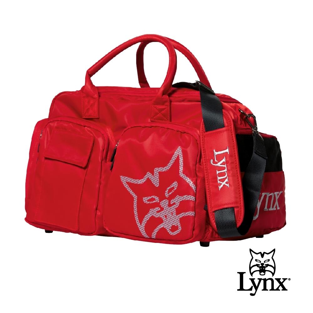 【Lynx Golf】男女Lynx山貓印花鞋袋設計旅行外袋/運動衣物袋-紅色