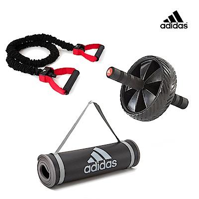 Adidas 重訓三件組(健腹滾輪+運動墊-灰10mm+中階訓練彈力繩)