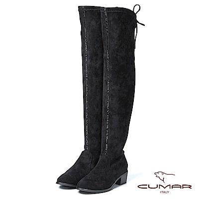 CUMAR率性柔美-尖頭綁帶排鑽過膝靴粗跟平底靴