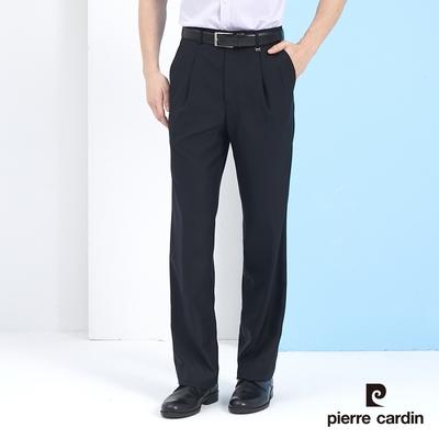 Pierre Cardin皮爾卡登 男裝 素色打摺西裝褲-丈青色 (5217845-39)