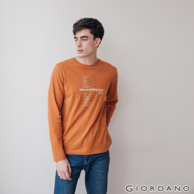 GIORDANO 男裝EXPLORE FUTURE印花長袖T恤- 06 皮革棕