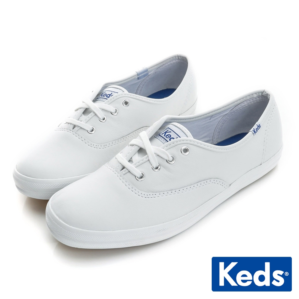 Keds 品牌經典真皮綁帶休閒鞋-白
