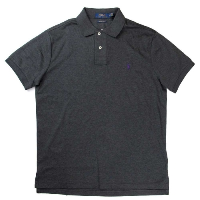Polo Ralph Lauren 小馬Logo鐵灰色短袖Polo衫(Custom Slim Fit)