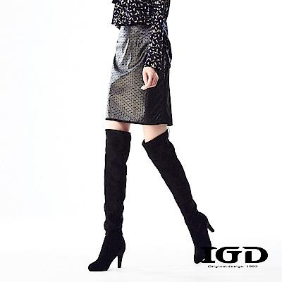 IGD英格麗 皮革鏤空剪接鉛筆中長膝上裙-黑色