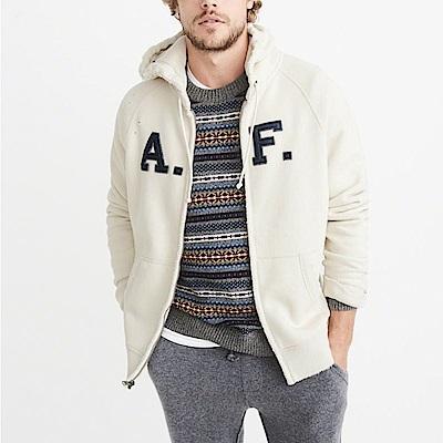 麋鹿 AF A&F 經典文字刺繡連帽外套-白色