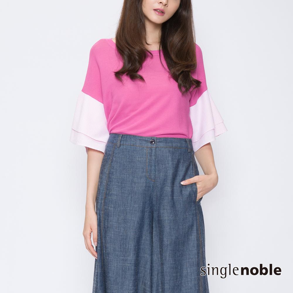 獨身貴族 清夏漫舞拼接荷葉袖設計針織衫(2色)