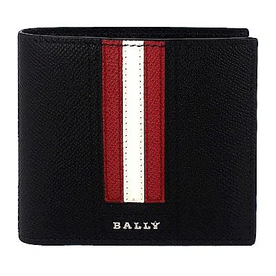 BALLY TRASAI品牌字樣經典紅白條紋黑色皮革短夾(8卡)