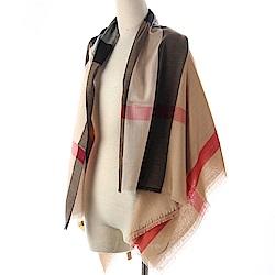 BURBERRY 經典格紋莫代爾羊毛絲綢方型大披肩圍巾-卡其色