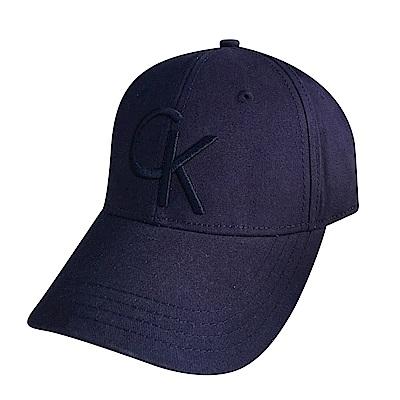 CK Calvin Klein經典刺繡字母LOGO棒球帽(深藍)