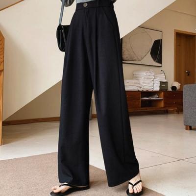 La Belleza單釦後鬆緊腰打摺闊腿寬褲垂墬感長褲落地褲