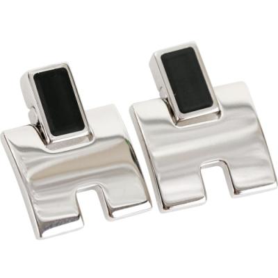 HERMES Eileen H 經典圓弧設計耳環(黑銀色)