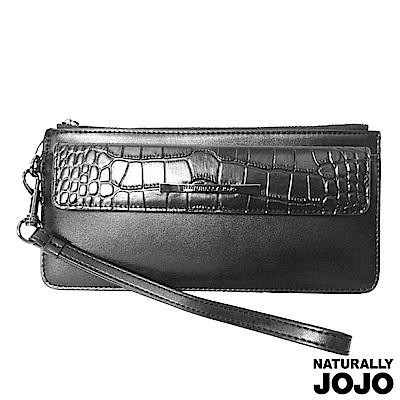 【NATURALLY JOJO】壓鱷紋時尚手挽包(黑)