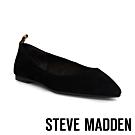 STEVE MADDEN-ADLEY 後跟拼接豹紋帶尖頭平底鞋-絨黑
