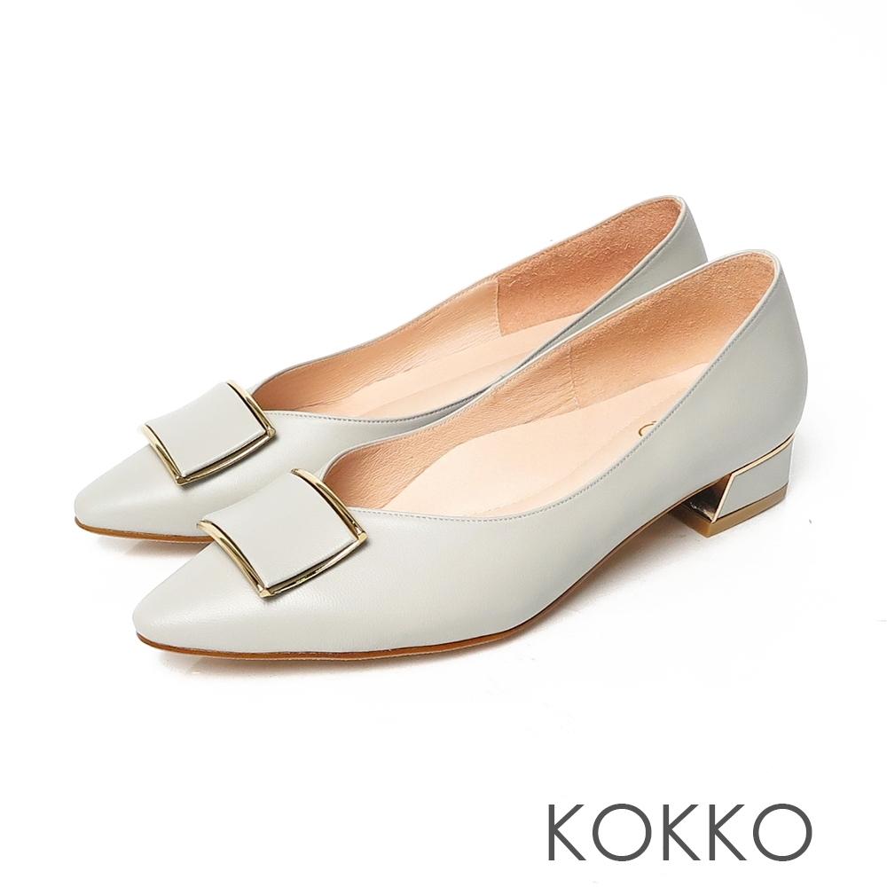 KOKKO超舒服方頭柔軟羊皮方塊跟鞋薄荷綠