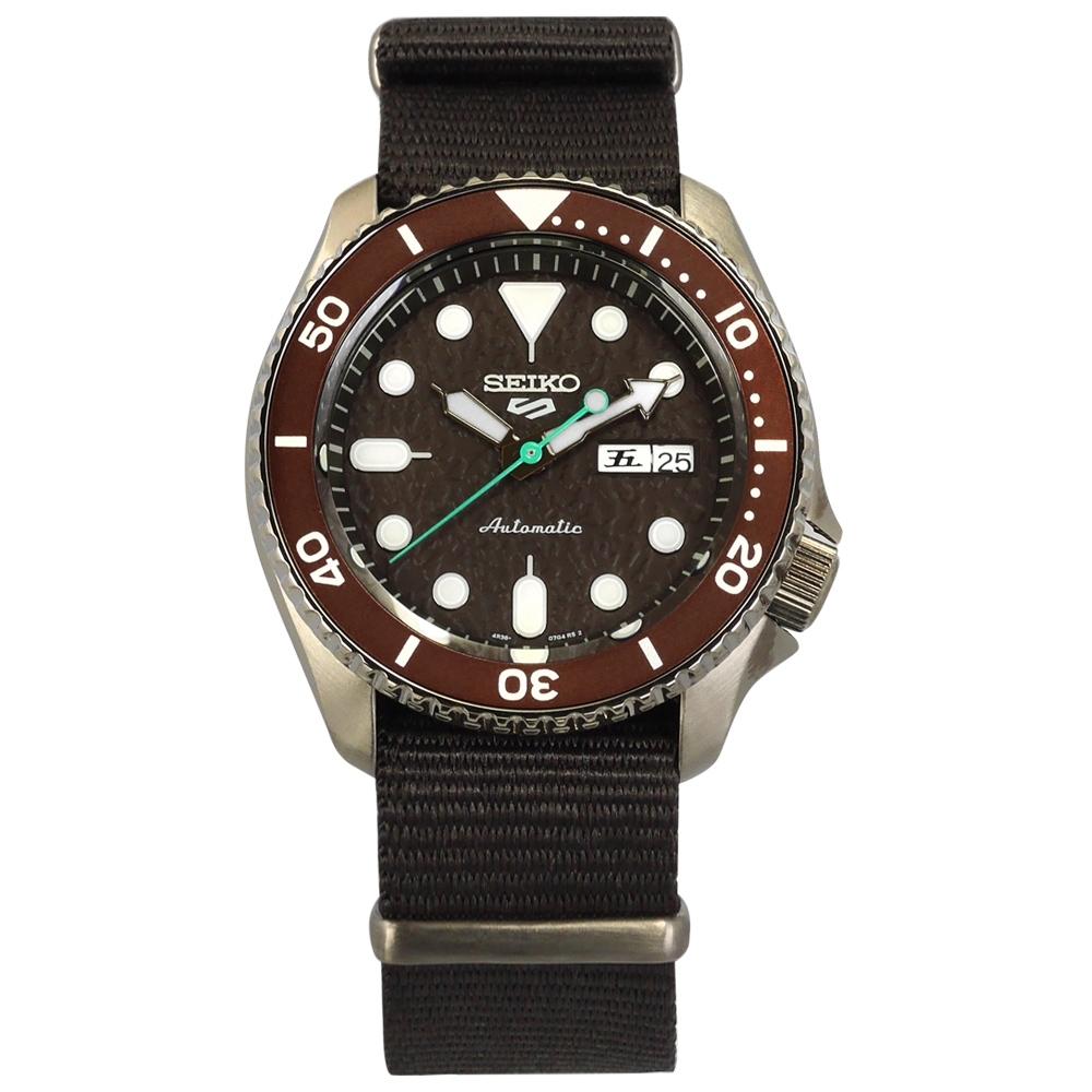 SEIKO 精工   5 Sports 機械錶 自動上鍊 尼龍帆布手錶 褐x古銅金框x褐 41mm