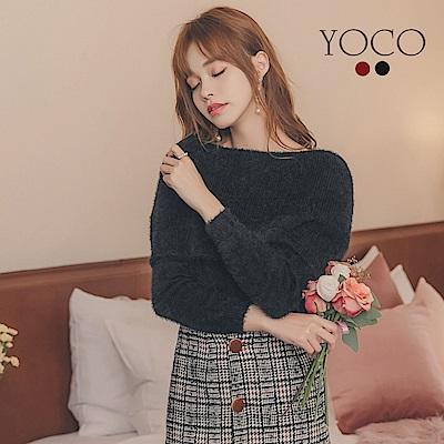 東京著衣-yoco 法式歐膩翻領毛海一字領兩穿針織上衣-S.M.L(共二色)