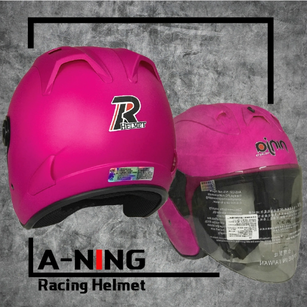 A-NING 時尚R帽 類經典Arai安全帽 雙導流 貓耳 外銷日本式樣款 機車 K1 (平桃紅)