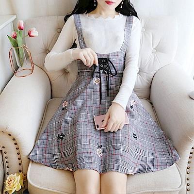 DABI 韓國風針織上衣刺繡格子背帶套裝長袖裙裝