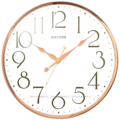 RHYTHM日本麗聲 時尚造型裝飾極清大字大廣角超靜音掛鐘/41cm