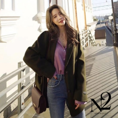 外套 正韓經典翻領口袋設計手工毛呢外套 N2