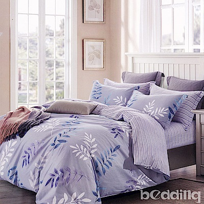BEDDING-100%棉特大雙人6x7尺薄式床包-輕歌曼舞-灰
