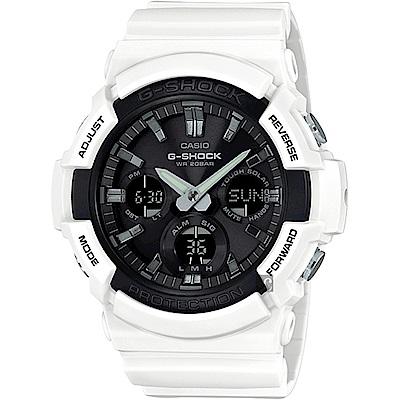 CASIO 卡西歐 G-SHOCK 太陽能雙顯手錶-白(GAS-100B-7A)