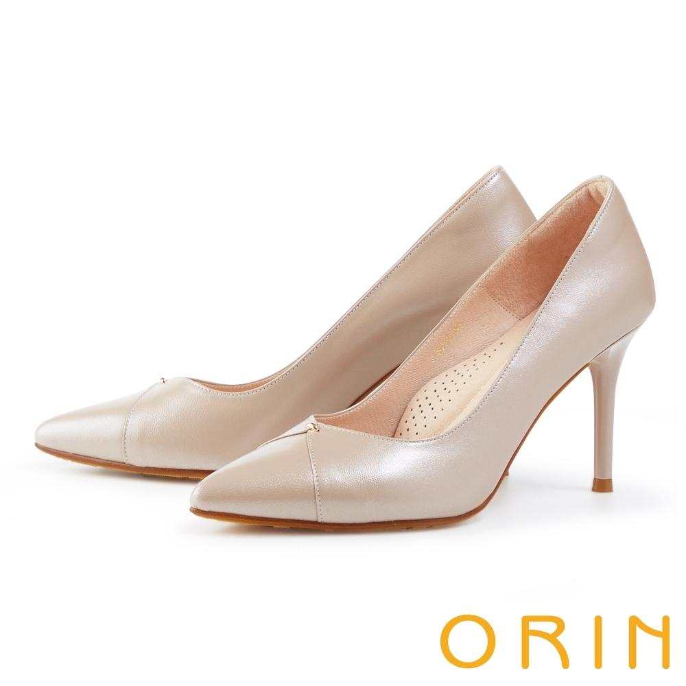 ORIN 造型剪裁羊皮尖頭 女 高跟鞋 珠光粉