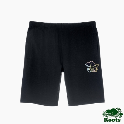 Roots男裝-彩色海狸系列 棉質短褲-黑色