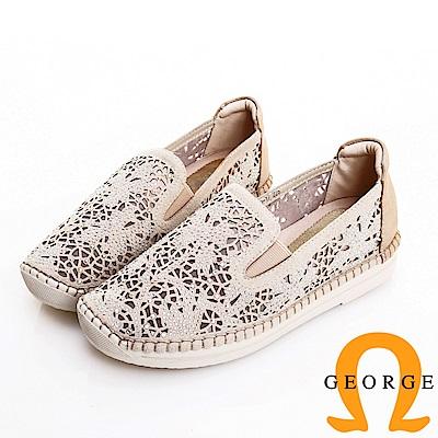 GEORGE 喬治皮鞋 簍空藤蔓水鑽平底休閒鞋-金