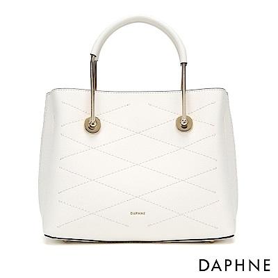 達芙妮DAPHNE-優雅菱格紋拚接金屬手提單肩包-白色