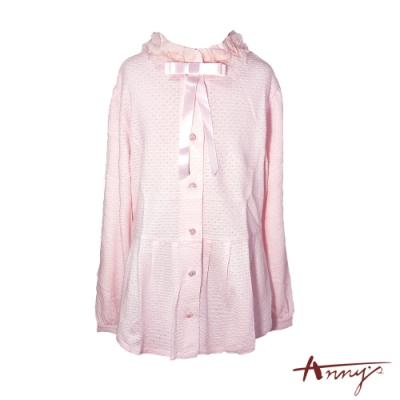 Annys氣質可愛荷葉領蝴蝶結水鑽釦舒適長袖襯衫*7268粉