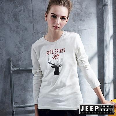 JEEP 女裝 質感馴鹿圖騰造型長袖TEE-白色