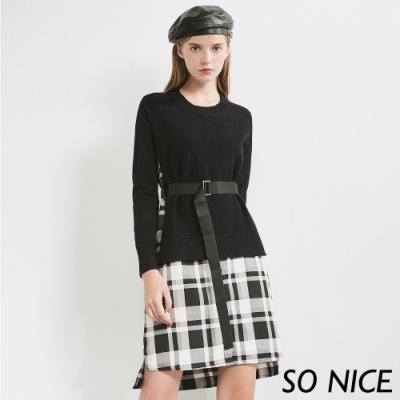 SO NICE都會針織拼接格紋洋裝
