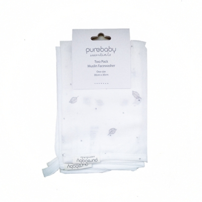 澳洲Purebaby有機棉萬用紗布巾2入-寶寶澡巾/打嗝巾/洗臉巾