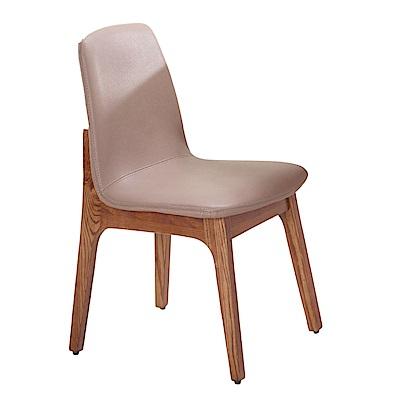 文創集 索菲斯亞麻布&皮革實木餐椅二入組合(三色可選)-49x46x83cm免組