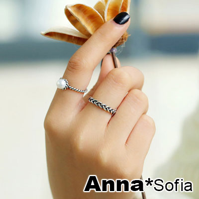 AnnaSofia 復古麻花雙環 開口戒指尾戒套組(白珠款)