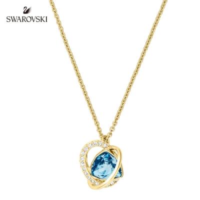 施華洛世奇 Outstanding 金色愛心飾框梨形藍墜飾項鏈