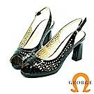 【GEORGE 喬治皮鞋】都會休閒 真皮鏤空魚口鞋中跟鞋-黑