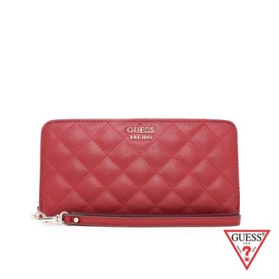GUESS-女包-時尚菱格壓紋長夾-紅